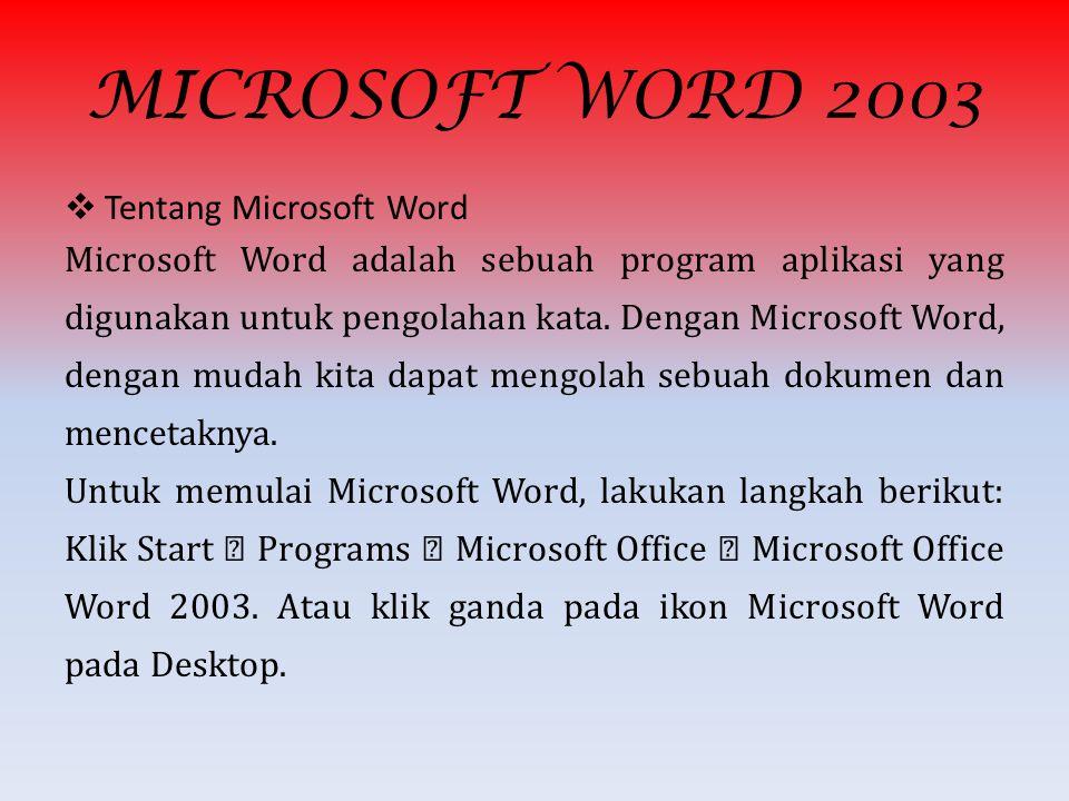 Microsoft Word, selanjutnya disebut Word 2000 merupakan pengembangan dari versi sebelumnya yang mengalami banyak perobahan dan perbaikan disana sini s