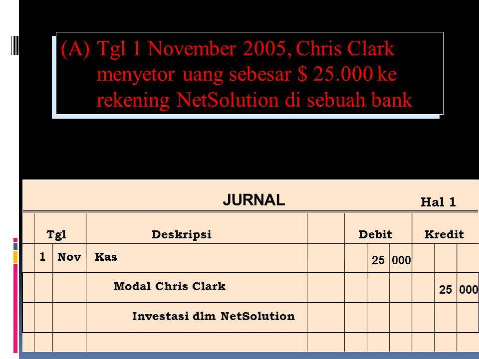 (A)Tgl 1 November 2005, Chris Clark menyetor uang sebesar $ 25.000 ke rekening NetSolution di sebuah bank Ref Post JURNAL TglDeskripsiDebitKredit Hal 1 1NovKas Modal Chris Clark Investasi dlm NetSolution 25 000
