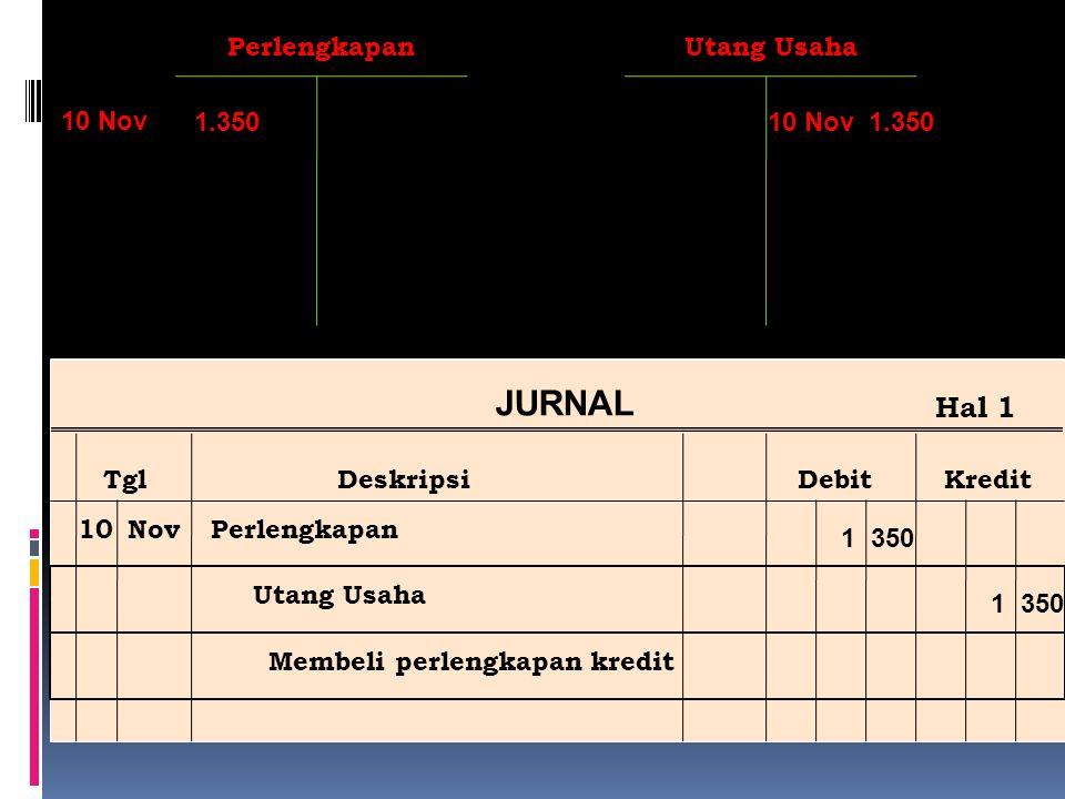 Ref Post JURNAL TglDeskripsiDebitKredit Hal 1 10NovPerlengkapan Utang Usaha Membeli perlengkapan kredit 1 350 PerlengkapanUtang Usaha 1.350 10 Nov