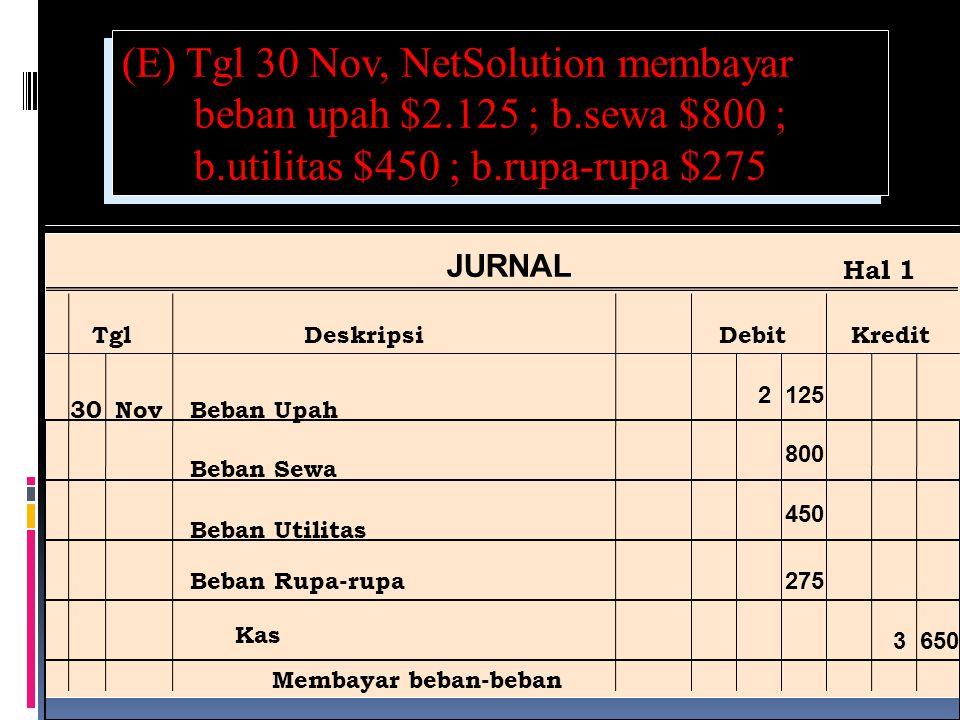 (E) Tgl 30 Nov, NetSolution membayar beban upah $2.125 ; b.sewa $800 ; b.utilitas $450 ; b.rupa-rupa $275 Ref Post JURNAL TglDeskripsiDebitKredit Hal 1 30NovBeban Upah Beban Sewa Beban Utilitas 2 125 3 650 Beban Rupa-rupa Kas Membayar beban-beban 800 450 275