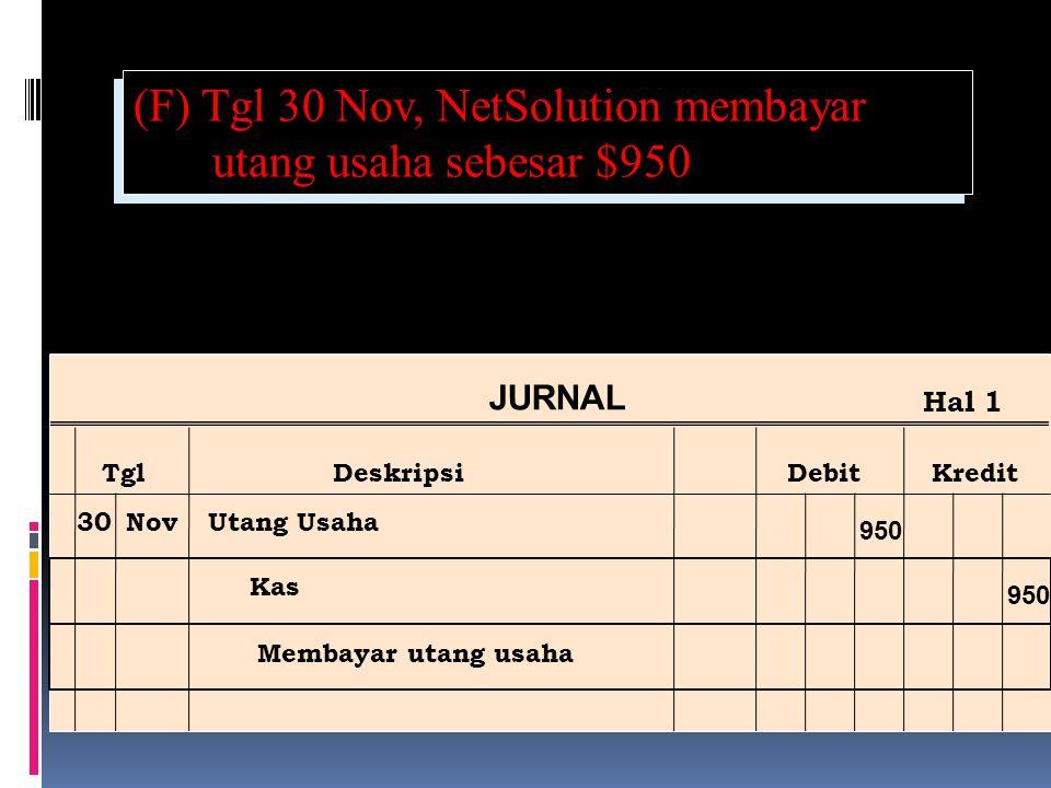 (F) Tgl 30 Nov, NetSolution membayar utang usaha sebesar $950 Ref Post JURNAL TglDeskripsiDebitKredit Hal 1 30NovUtang Usaha Kas Membayar utang usaha 950