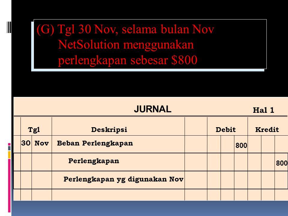 (G) Tgl 30 Nov, selama bulan Nov NetSolution menggunakan perlengkapan sebesar $800 Ref Post JURNAL TglDeskripsiDebitKredit Hal 1 30NovBeban Perlengkapan Perlengkapan Perlengkapan yg digunakan Nov 800