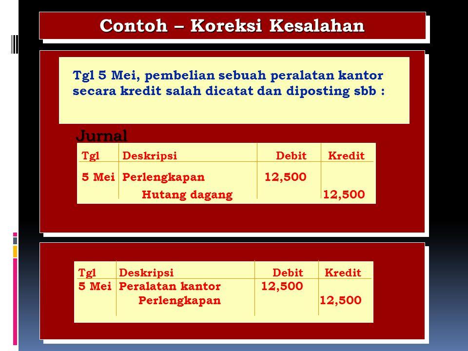 Jurnal Contoh – Koreksi Kesalahan Tgl 5 Mei, pembelian sebuah peralatan kantor secara kredit salah dicatat dan diposting sbb : TglDeskripsiDebitKredit