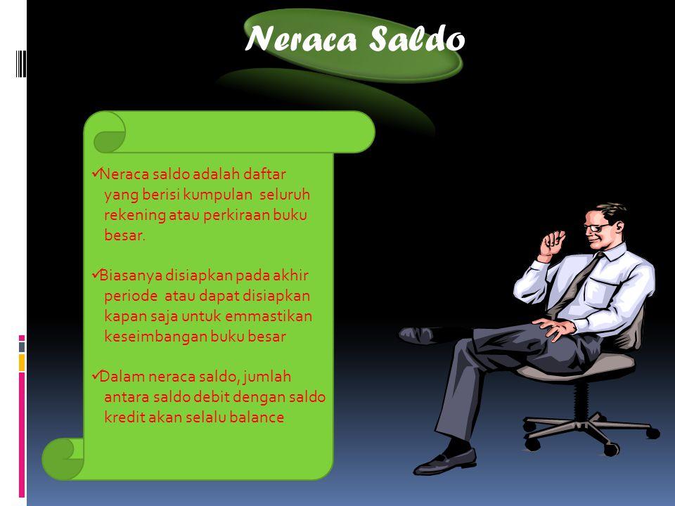 Neraca Saldo Neraca saldo adalah daftar yang berisi kumpulan seluruh rekening atau perkiraan buku besar. Biasanya disiapkan pada akhir periode atau da