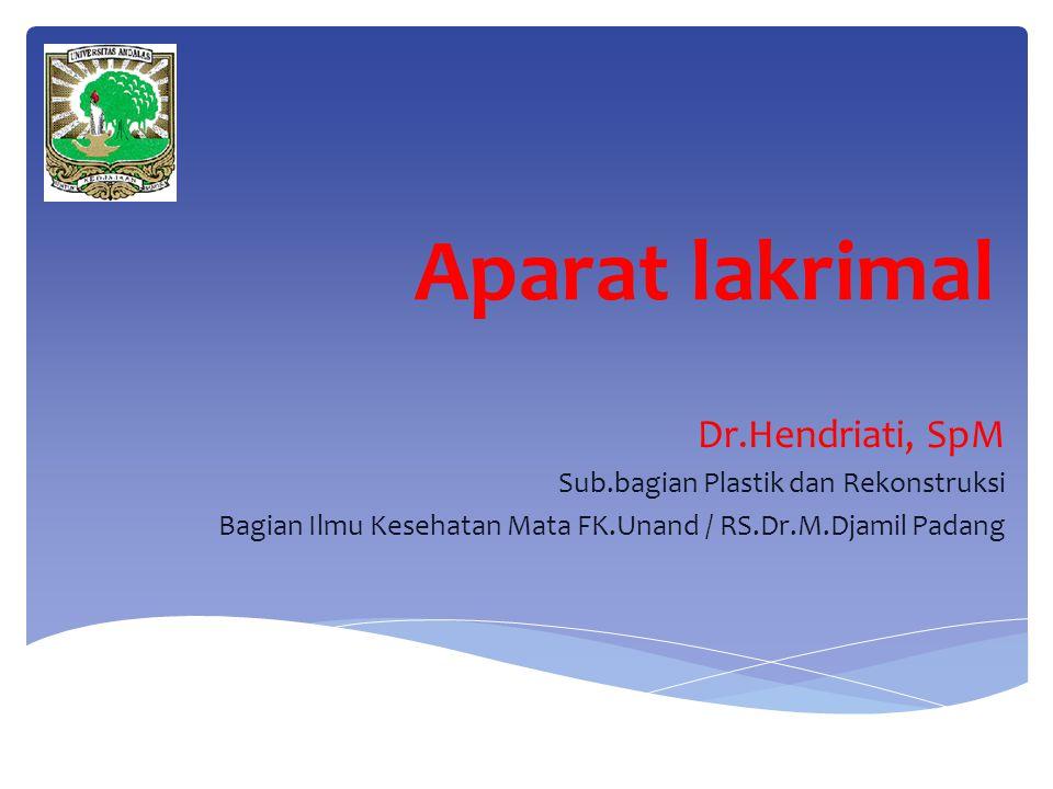 Aparat lakrimal Dr.Hendriati, SpM Sub.bagian Plastik dan Rekonstruksi Bagian Ilmu Kesehatan Mata FK.Unand / RS.Dr.M.Djamil Padang