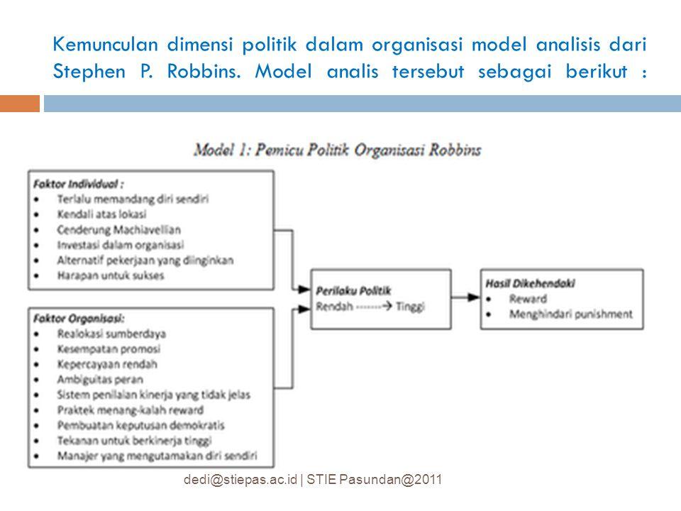 Kemunculan dimensi politik dalam organisasi model analisis dari Stephen P. Robbins. Model analis tersebut sebagai berikut : dedi@stiepas.ac.id | STIE