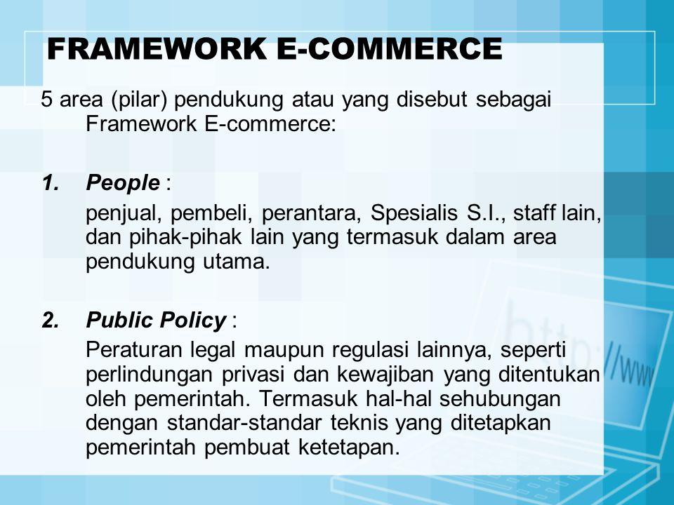 5 area (pilar) pendukung atau yang disebut sebagai Framework E-commerce: 1.People : penjual, pembeli, perantara, Spesialis S.I., staff lain, dan pihak