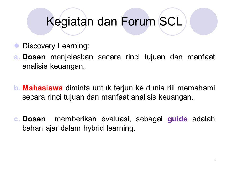 Kegiatan dan Forum SCL Discovery Learning: a.Dosen menjelaskan secara rinci tujuan dan manfaat analisis keuangan. b.Mahasiswa diminta untuk terjun ke