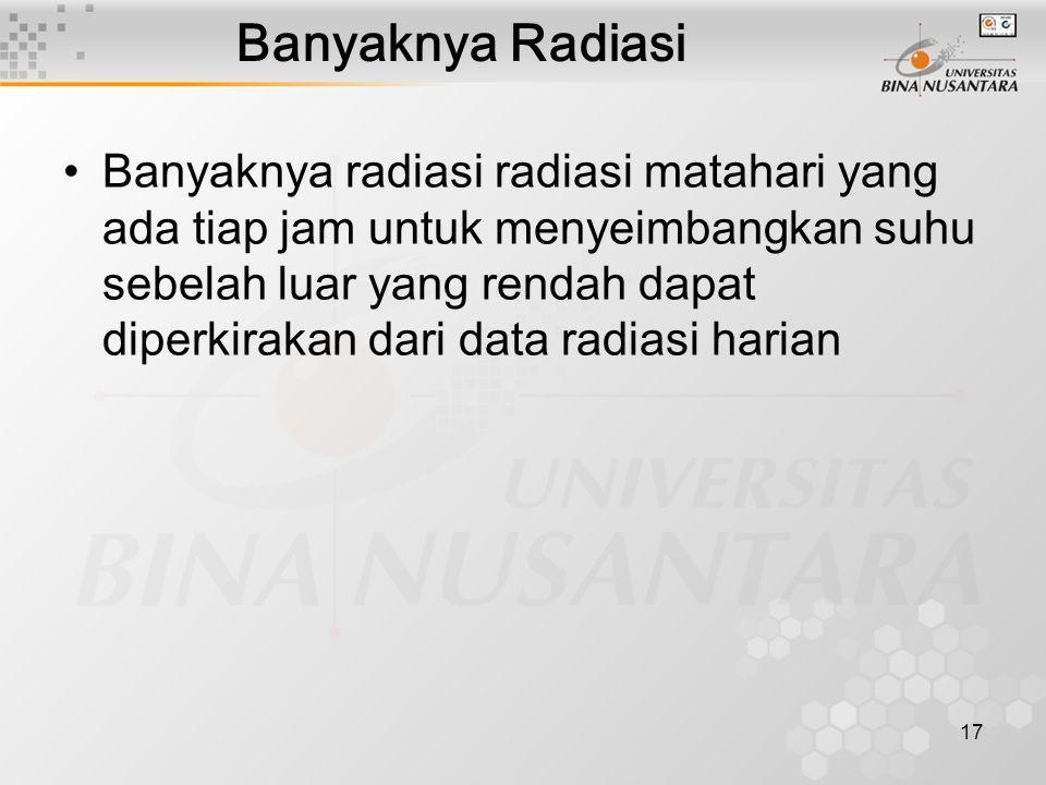 17 Banyaknya Radiasi Banyaknya radiasi radiasi matahari yang ada tiap jam untuk menyeimbangkan suhu sebelah luar yang rendah dapat diperkirakan dari data radiasi harian