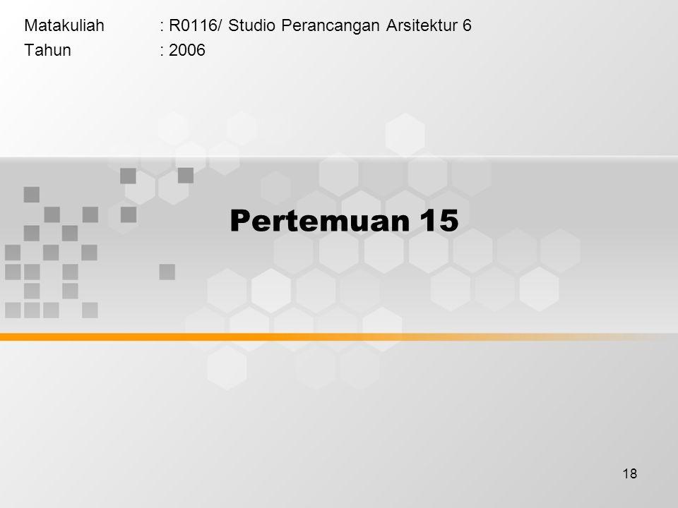 18 Matakuliah: R0116/ Studio Perancangan Arsitektur 6 Tahun: 2006 Pertemuan 15