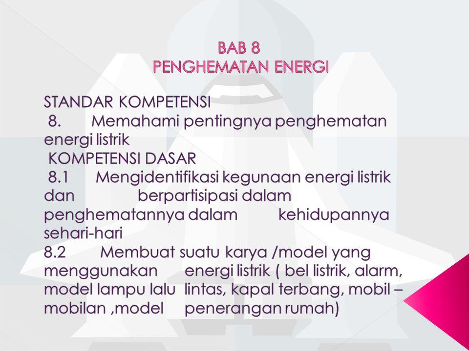 8.1.1 Menunjukan alat-alat rumah tangga yang menggunakan energi listrik 8.1.2 Mengidentifikasi kegunaan energi listrik dalam rumah tangga 8.1.3 Mempraktekan cara menghemat energi di rumah atau di sekolah 8.1.4 Memberikan alasan pentingnya menghemat energi