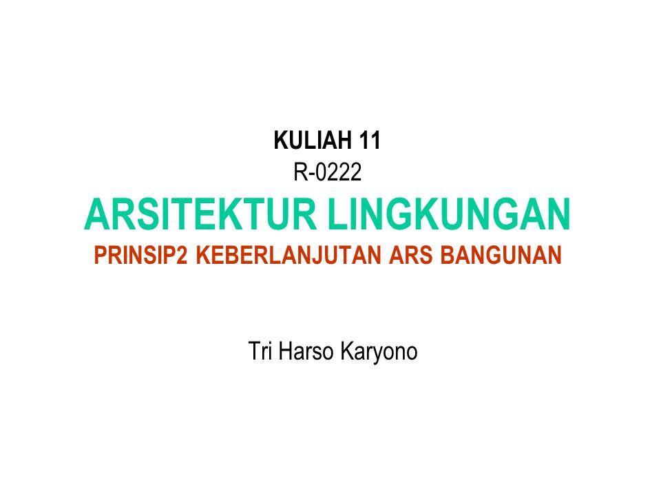 KULIAH 11 R-0222 ARSITEKTUR LINGKUNGAN PRINSIP2 KEBERLANJUTAN ARS BANGUNAN Tri Harso Karyono