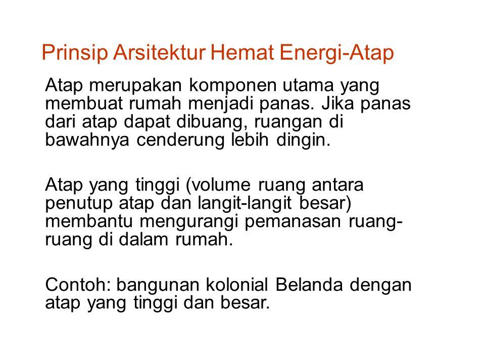 Prinsip Arsitektur Hemat Energi: Ventilasi Atap 1.Perlu adanya ventilasi ruang di bawah atap (antara penutup atap dan langit-langit) diberi ventilasi semaksimal mungkin 2.Udara panas yang terperangkap di bawah penutup atap (karena radiasi matahari) dapat dibuang atau dialirkan keluar, sehingga panas tersebut tidak merambat ke langit-langit melalui proses konduksi, yang akhirnya memanaskan ruang di bawahnya melalui proses radiasi.