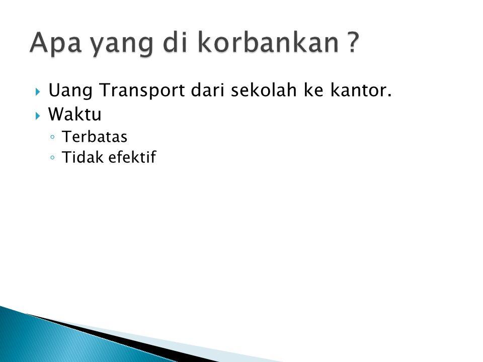  Uang Transport dari sekolah ke kantor.  Waktu ◦ Terbatas ◦ Tidak efektif