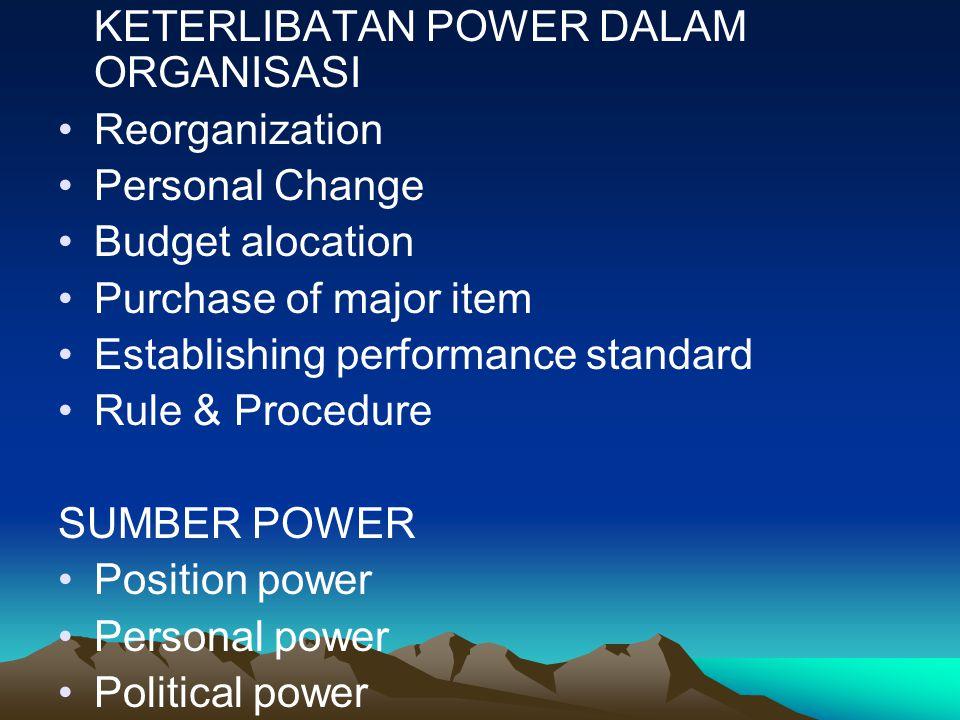 KETERLIBATAN POWER DALAM ORGANISASI Reorganization Personal Change Budget alocation Purchase of major item Establishing performance standard Rule & Pr