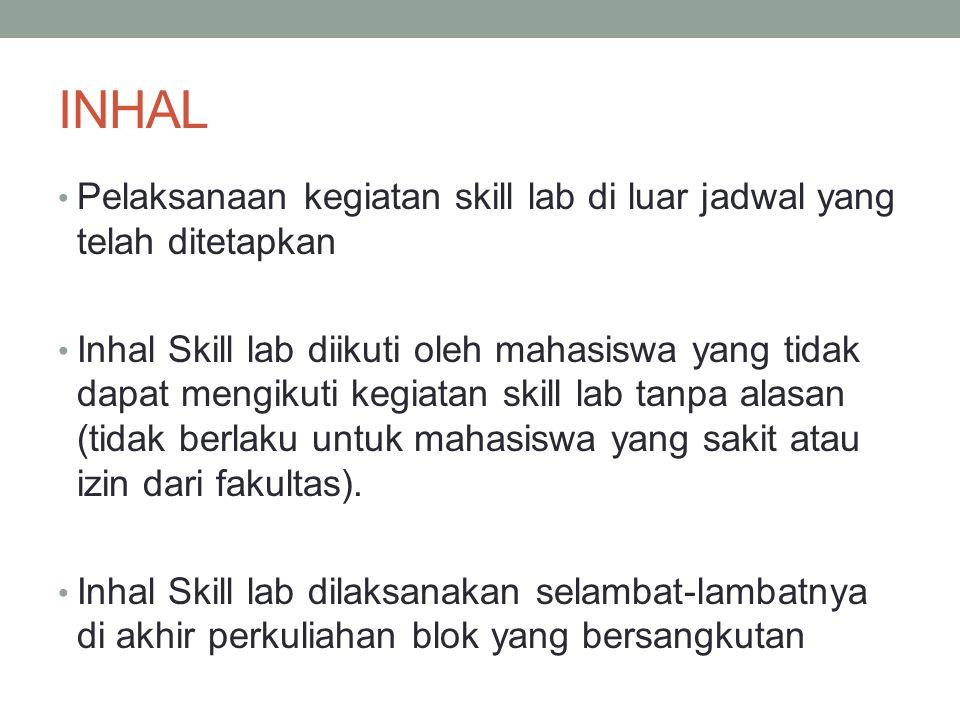 INHAL Pelaksanaan kegiatan skill lab di luar jadwal yang telah ditetapkan Inhal Skill lab diikuti oleh mahasiswa yang tidak dapat mengikuti kegiatan skill lab tanpa alasan (tidak berlaku untuk mahasiswa yang sakit atau izin dari fakultas).