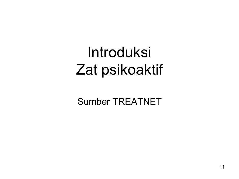Introduksi Zat psikoaktif Sumber TREATNET 11