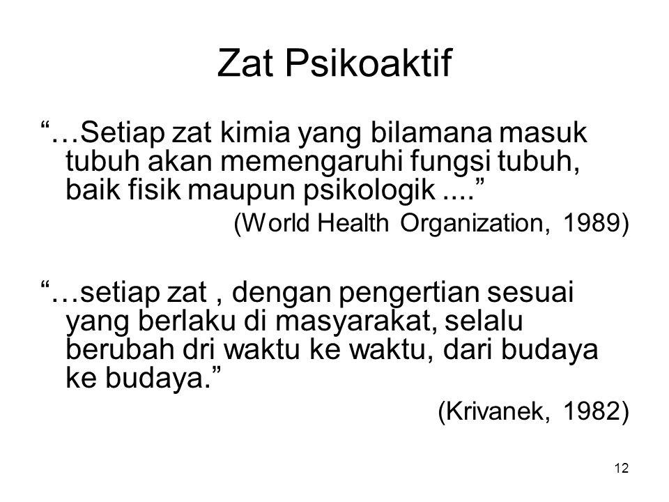 """Zat Psikoaktif """"…Setiap zat kimia yang bilamana masuk tubuh akan memengaruhi fungsi tubuh, baik fisik maupun psikologik...."""" (World Health Organizatio"""