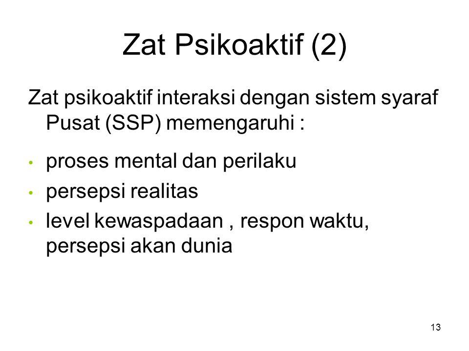 Zat Psikoaktif (2) Zat psikoaktif interaksi dengan sistem syaraf Pusat (SSP) memengaruhi : proses mental dan perilaku persepsi realitas level kewaspadaan, respon waktu, persepsi akan dunia 13