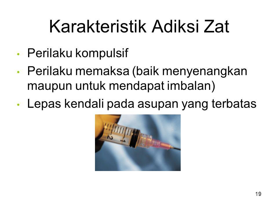 Karakteristik Adiksi Zat Perilaku kompulsif Perilaku memaksa (baik menyenangkan maupun untuk mendapat imbalan) Lepas kendali pada asupan yang terbatas