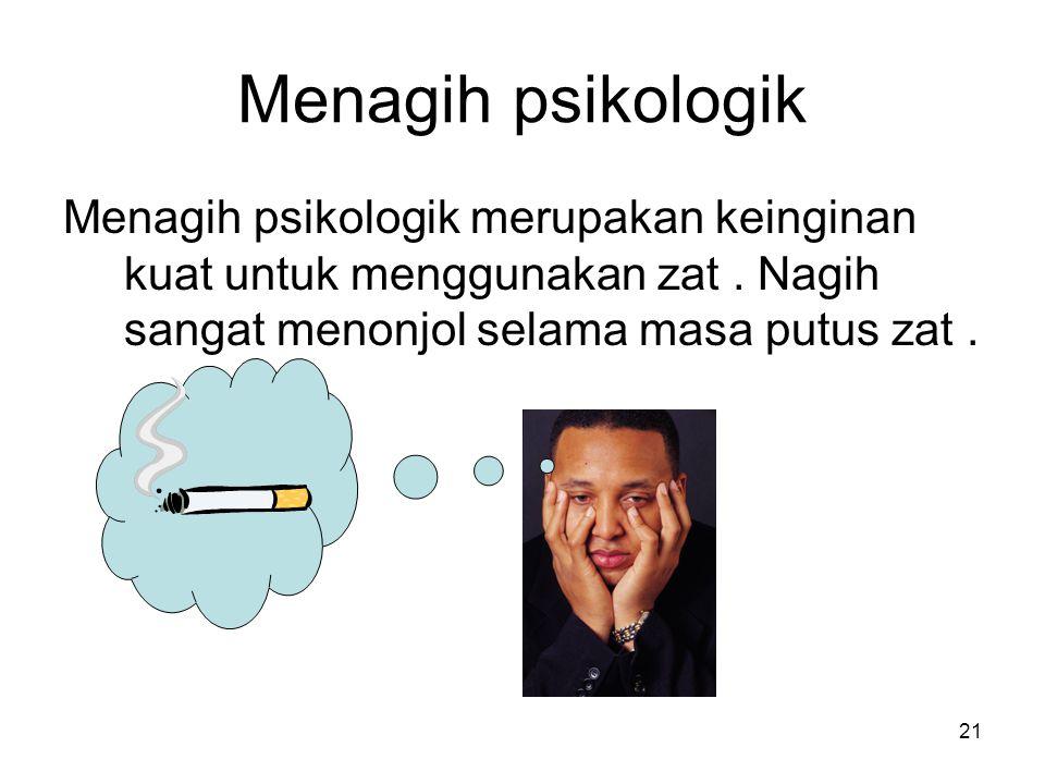 Menagih psikologik Menagih psikologik merupakan keinginan kuat untuk menggunakan zat.