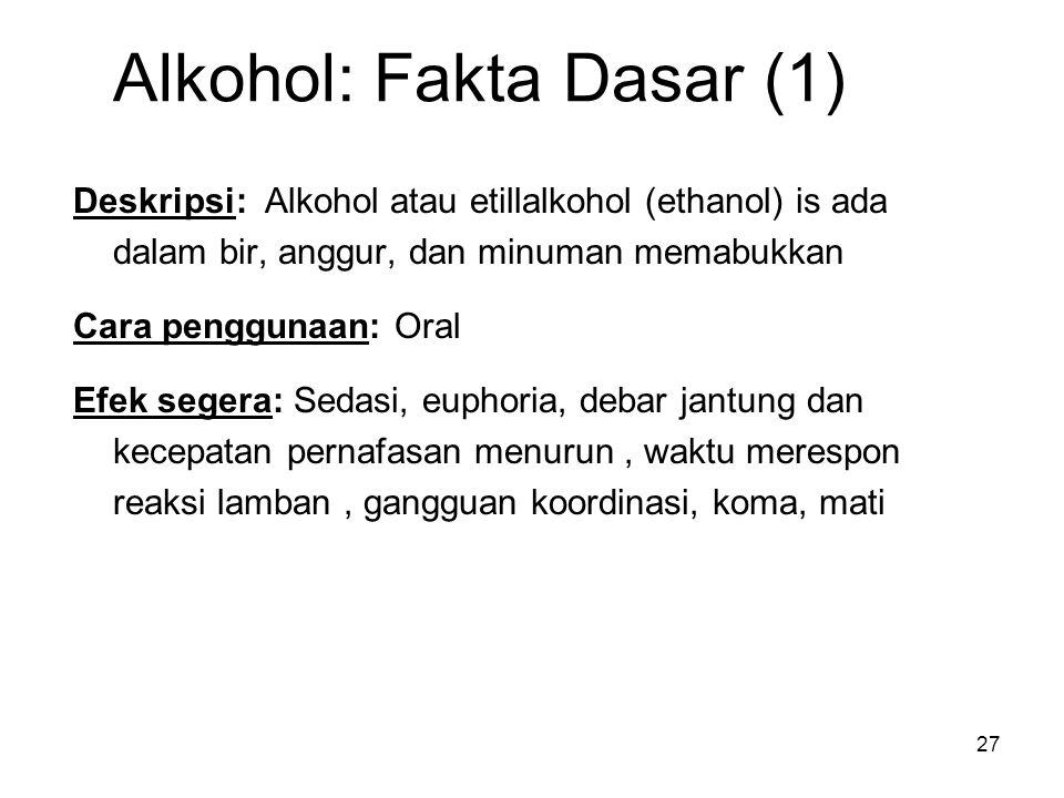 Alkohol: Fakta Dasar (1) Deskripsi: Alkohol atau etillalkohol (ethanol) is ada dalam bir, anggur, dan minuman memabukkan Cara penggunaan: Oral Efek segera: Sedasi, euphoria, debar jantung dan kecepatan pernafasan menurun, waktu merespon reaksi lamban, gangguan koordinasi, koma, mati 27
