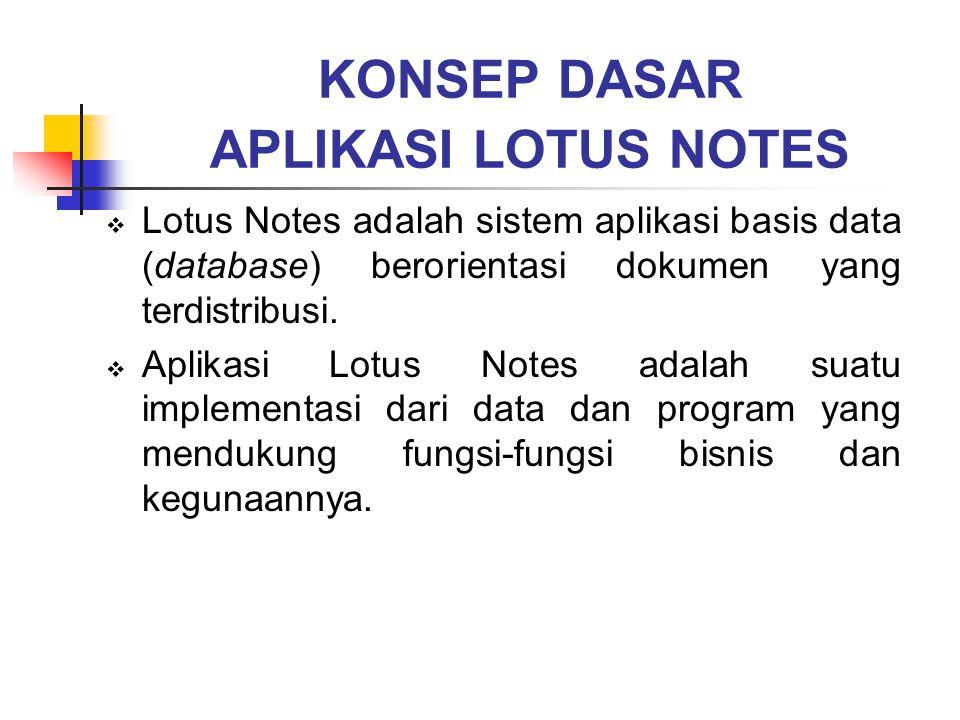 KONSEP DASAR APLIKASI LOTUS NOTES LLotus Notes adalah sistem aplikasi basis data (database) berorientasi dokumen yang terdistribusi. AAplikasi Lot