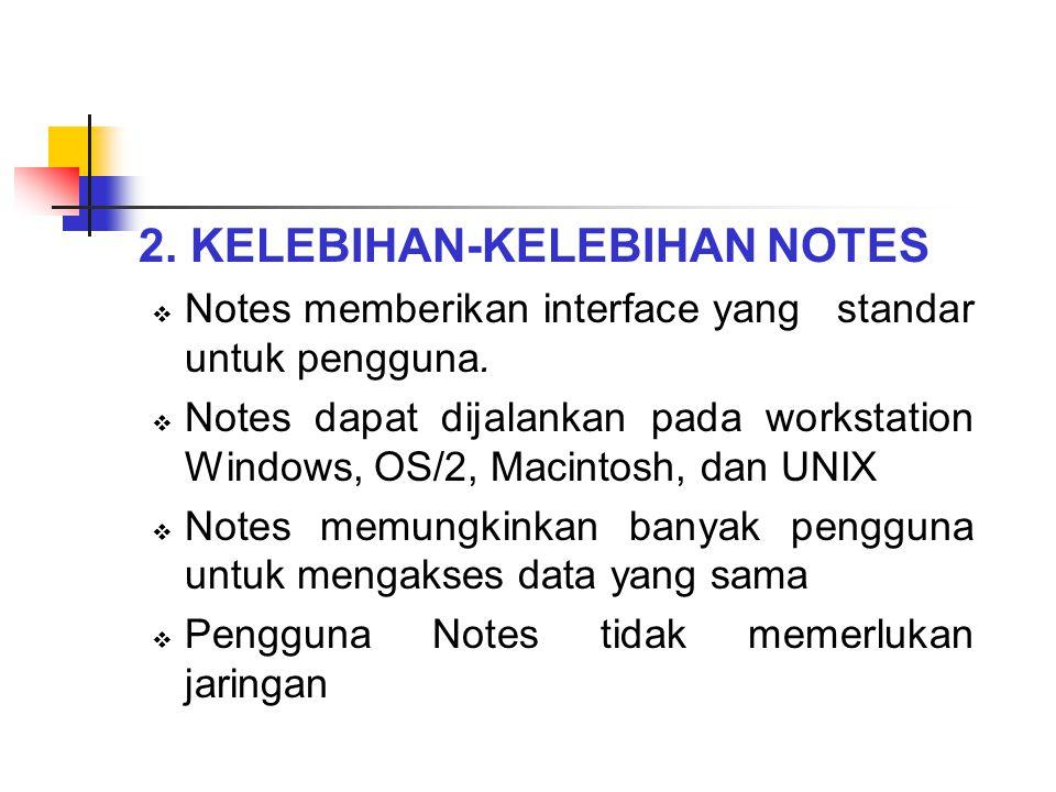 2. KELEBIHAN-KELEBIHAN NOTES  Notes memberikan interface yang standar untuk pengguna.  Notes dapat dijalankan pada workstation Windows, OS/2, Macint