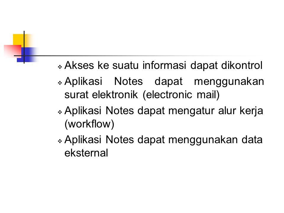  Akses ke suatu informasi dapat dikontrol  Aplikasi Notes dapat menggunakan surat elektronik (electronic mail)  Aplikasi Notes dapat mengatur alur