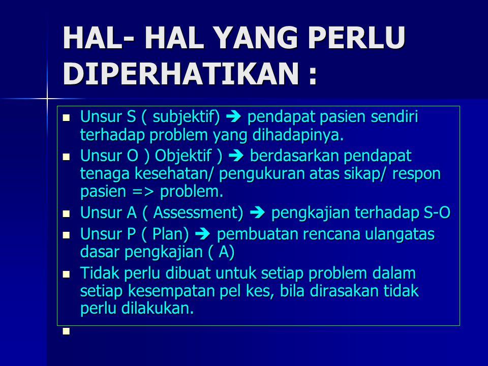 HAL- HAL YANG PERLU DIPERHATIKAN : Unsur S ( subjektif)  pendapat pasien sendiri terhadap problem yang dihadapinya. Unsur S ( subjektif)  pendapat p