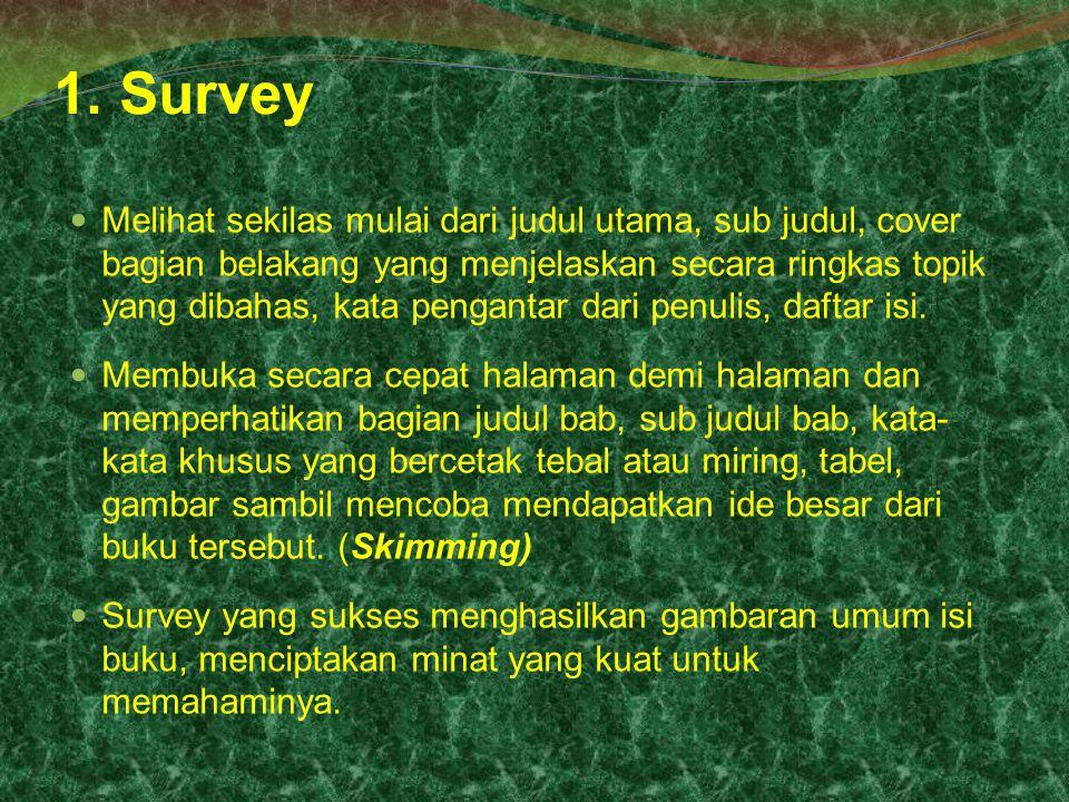 1. Survey Melihat sekilas mulai dari judul utama, sub judul, cover bagian belakang yang menjelaskan secara ringkas topik yang dibahas, kata pengantar