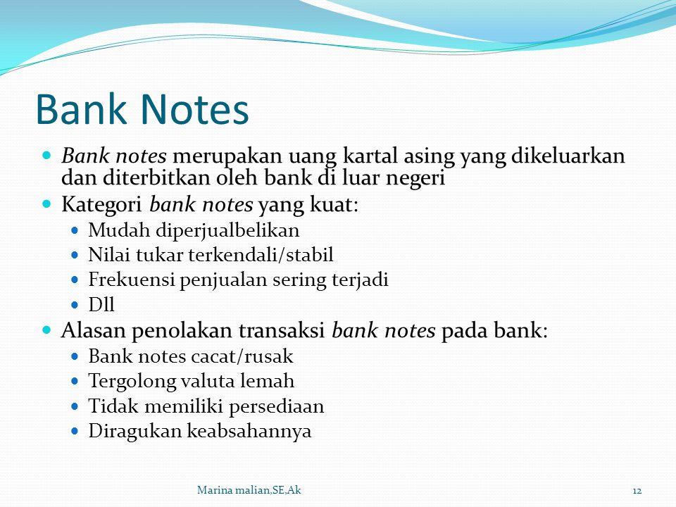 Bank Notes Bank notes merupakan uang kartal asing yang dikeluarkan dan diterbitkan oleh bank di luar negeri Kategori bank notes yang kuat: Mudah diper