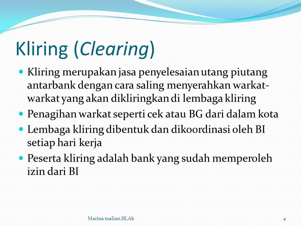 Kliring (Clearing) Kliring merupakan jasa penyelesaian utang piutang antarbank dengan cara saling menyerahkan warkat- warkat yang akan dikliringkan di