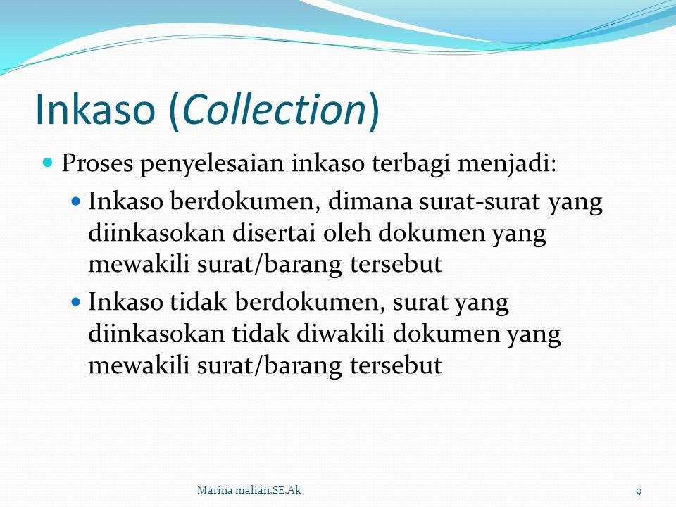 Inkaso (Collection) Proses penyelesaian inkaso terbagi menjadi: Inkaso berdokumen, dimana surat-surat yang diinkasokan disertai oleh dokumen yang mewa
