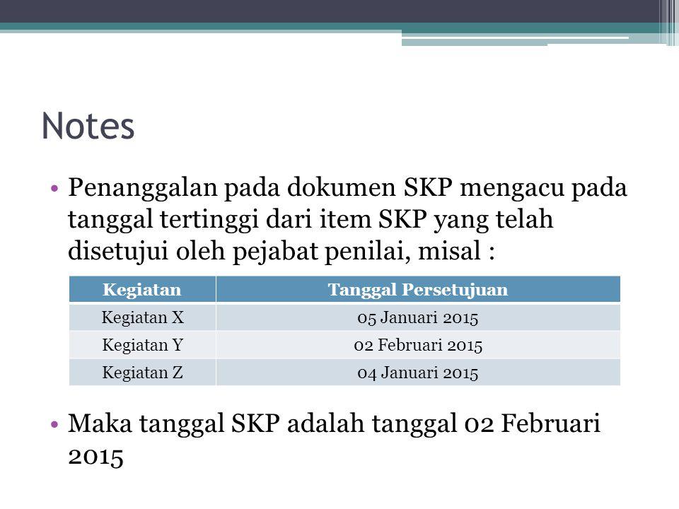 Notes Penanggalan pada dokumen SKP mengacu pada tanggal tertinggi dari item SKP yang telah disetujui oleh pejabat penilai, misal : Maka tanggal SKP ad