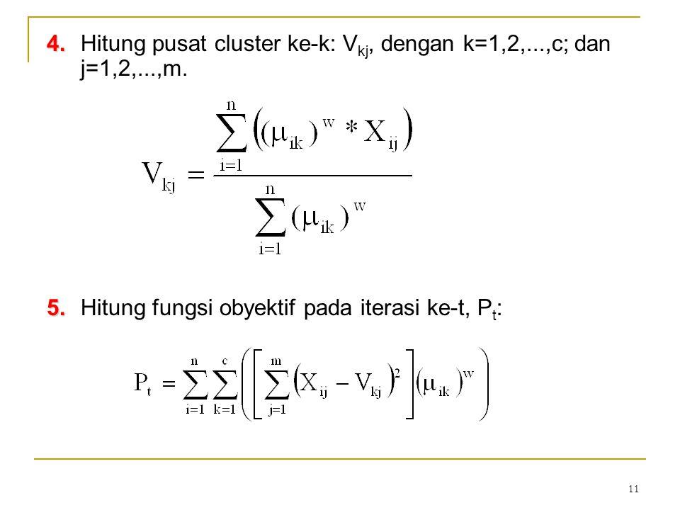 11 4. 4.Hitung pusat cluster ke-k: V kj, dengan k=1,2,...,c; dan j=1,2,...,m. 5. 5.Hitung fungsi obyektif pada iterasi ke-t, P t :