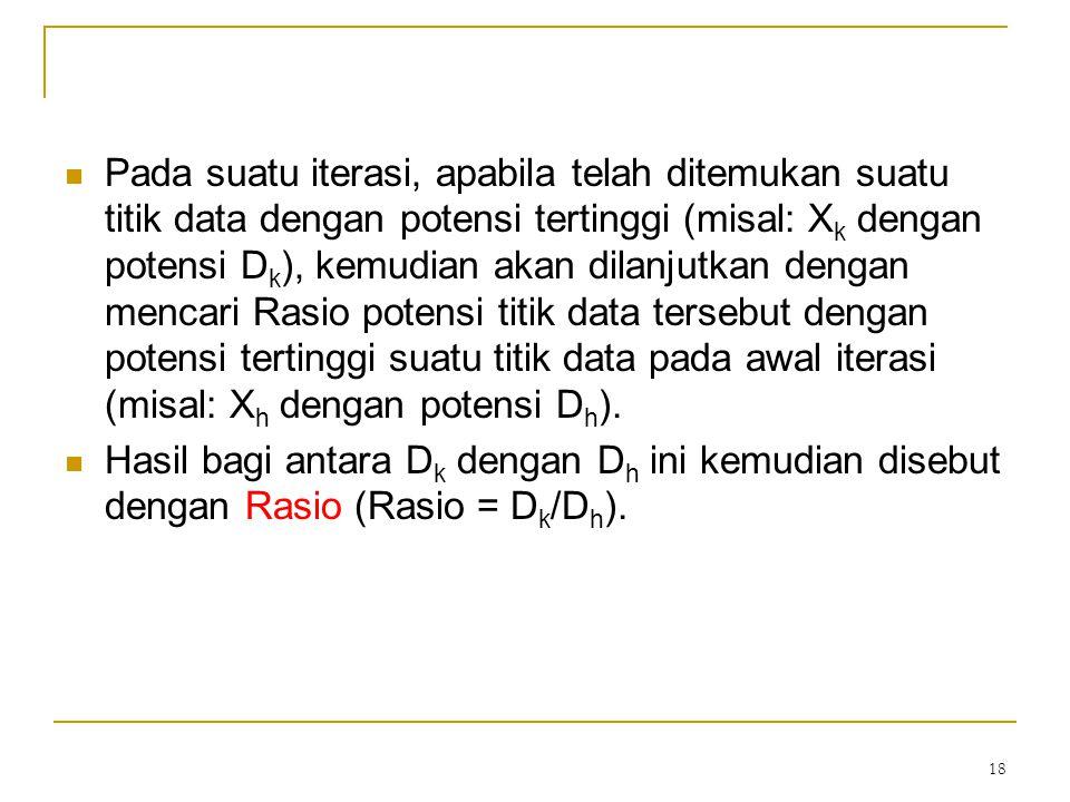 18 Pada suatu iterasi, apabila telah ditemukan suatu titik data dengan potensi tertinggi (misal: X k dengan potensi D k ), kemudian akan dilanjutkan d