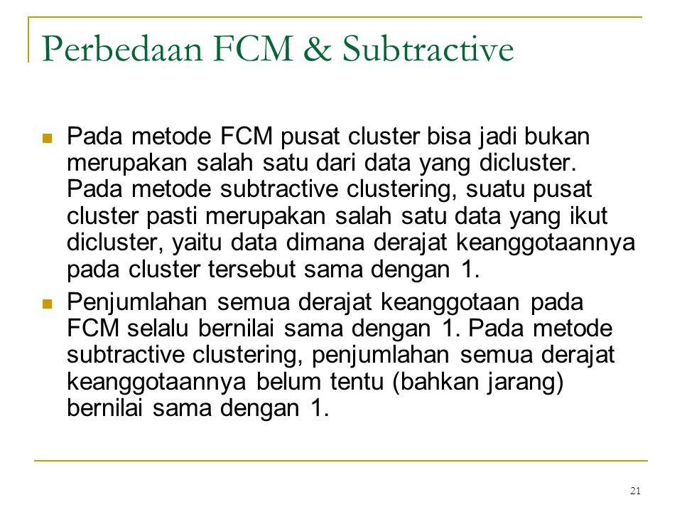 21 Perbedaan FCM & Subtractive Pada metode FCM pusat cluster bisa jadi bukan merupakan salah satu dari data yang dicluster. Pada metode subtractive cl