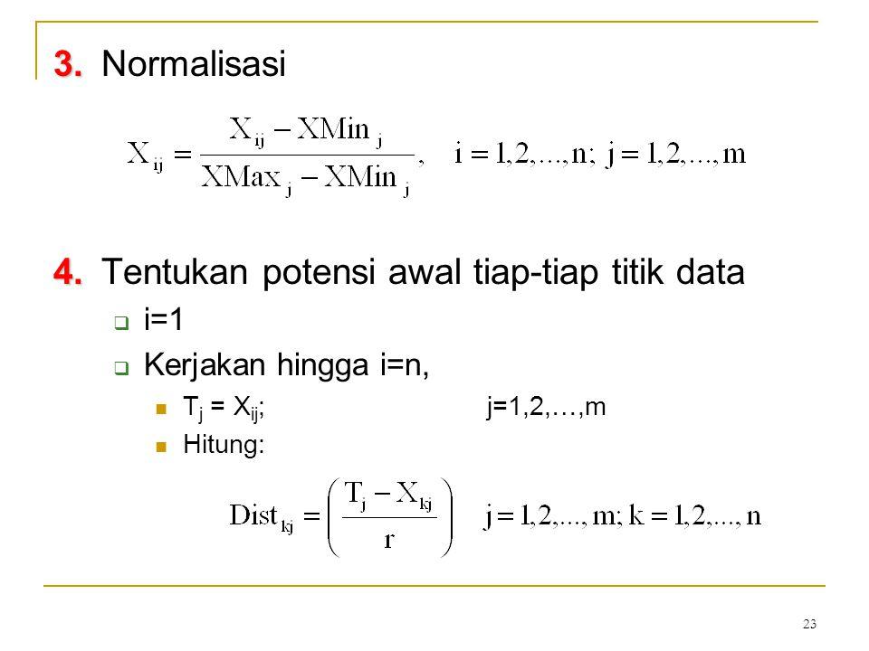 23 3. 3.Normalisasi 4. 4.Tentukan potensi awal tiap-tiap titik data  i=1  Kerjakan hingga i=n, T j = X ij ;j=1,2,…,m Hitung: