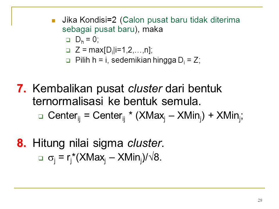 29 Jika Kondisi=2 (Calon pusat baru tidak diterima sebagai pusat baru), maka  D h = 0;  Z = max[D i  i=1,2,…,n];  Pilih h = i, sedemikian hingga D