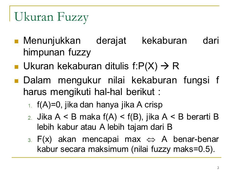 3 Ukuran Fuzzy Menunjukkan derajat kekaburan dari himpunan fuzzy Ukuran kekaburan ditulis f:P(X)  R Dalam mengukur nilai kekaburan fungsi f harus men