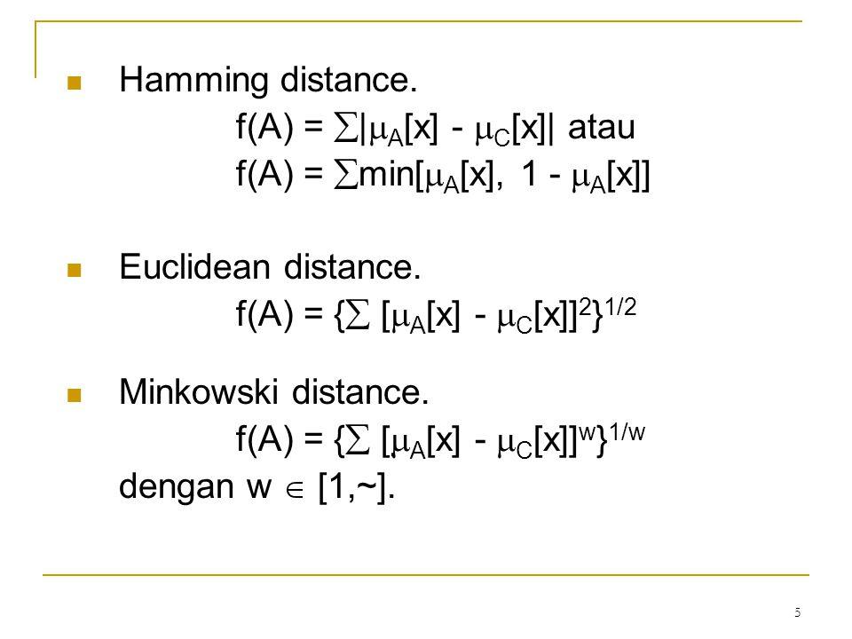 6 Fuzzy Entrophy Fuzzy entropy didefinisikan dengan fungsi: f(A) = -  {  A[x]log  A[x]+[1-  A[x]]log[1-  A[x]]}