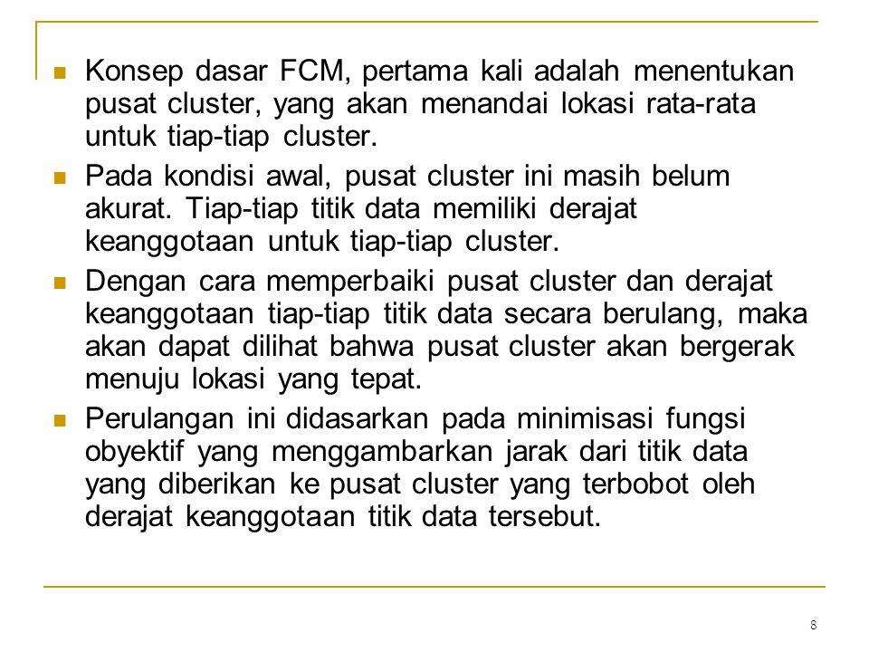 8 Konsep dasar FCM, pertama kali adalah menentukan pusat cluster, yang akan menandai lokasi rata-rata untuk tiap-tiap cluster. Pada kondisi awal, pusa