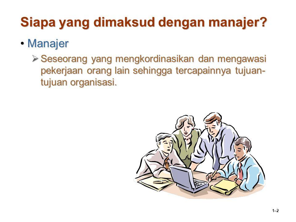 1–2 Siapa yang dimaksud dengan manajer? ManajerManajer  Seseorang yang mengkordinasikan dan mengawasi pekerjaan orang lain sehingga tercapainnya tuju