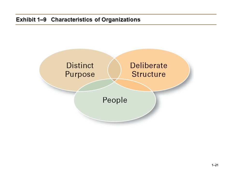 1–21 Exhibit 1–9Characteristics of Organizations