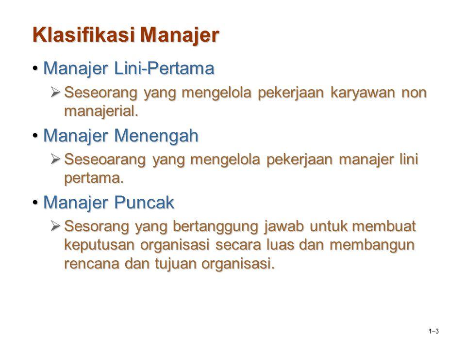 1–3 Klasifikasi Manajer Manajer Lini-PertamaManajer Lini-Pertama  Seseorang yang mengelola pekerjaan karyawan non manajerial. Manajer MenengahManajer