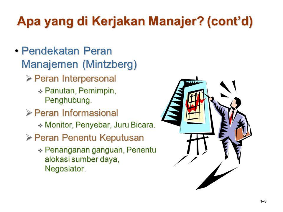1–9 Apa yang di Kerjakan Manajer? (cont'd) Pendekatan Peran Manajemen (Mintzberg)Pendekatan Peran Manajemen (Mintzberg)  Peran Interpersonal  Panuta