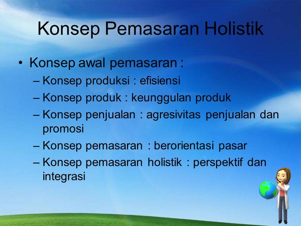 Konsep Pemasaran Holistik Konsep awal pemasaran : –Konsep produksi : efisiensi –Konsep produk : keunggulan produk –Konsep penjualan : agresivitas penj