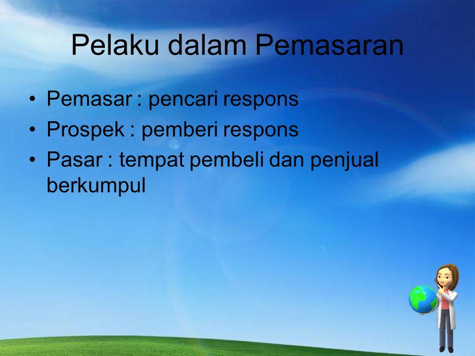 Pelaku dalam Pemasaran Pemasar : pencari respons Prospek : pemberi respons Pasar : tempat pembeli dan penjual berkumpul