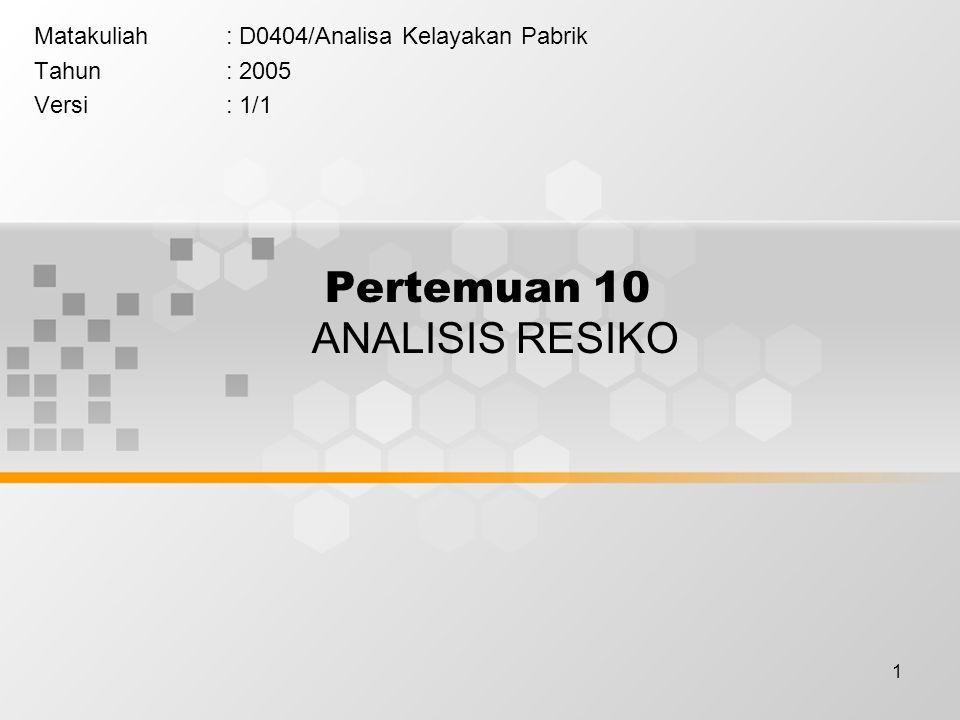 1 Pertemuan 10 ANALISIS RESIKO Matakuliah: D0404/Analisa Kelayakan Pabrik Tahun: 2005 Versi: 1/1